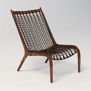 woven slipper lounge chair 3D model