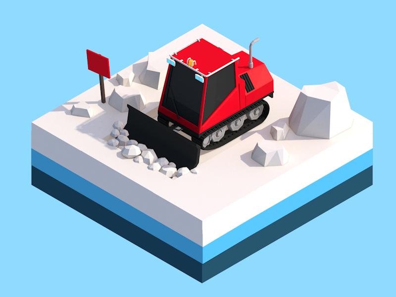 3D motion cartoon snowcat vehicle model
