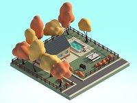Cartoon House 3d Illustration Scene