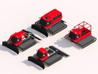 Cartoon Low Poly Snowcat Track Vehicles Pack