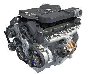 twin turbo v12 car engine 3D