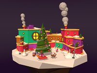 Cartoon Low Poly Winter Island 3d Asset