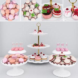 cake raspberry cupcakes 3D model