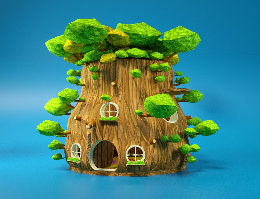 cartoon wooden bear house interior 3D