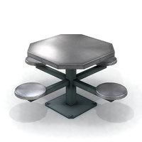 prison cafeteria table 3D