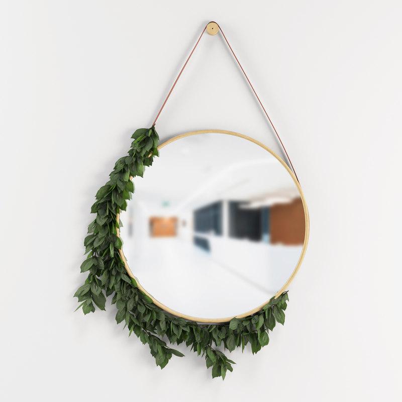 3D decoration mirror leafs model