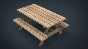 camping wood table 3D