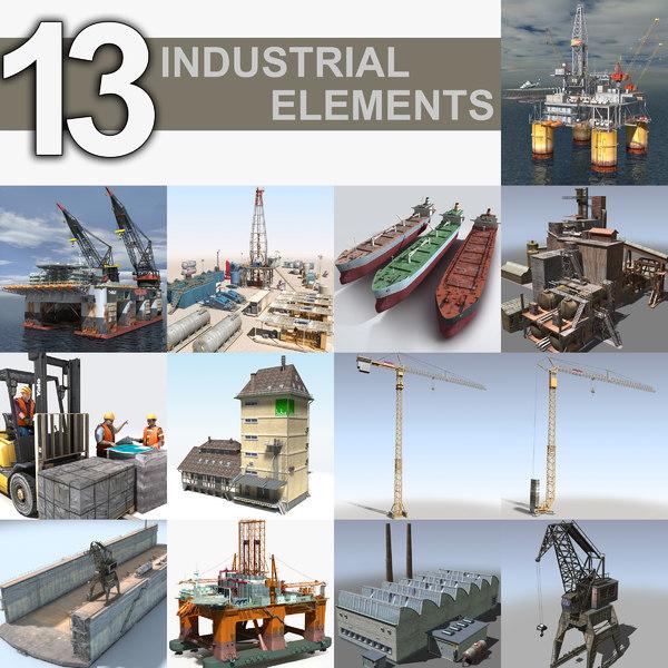3D industrial oil rig