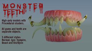 3D monster teeth