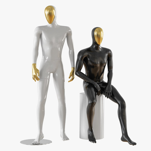 abstract male mannequin gold model