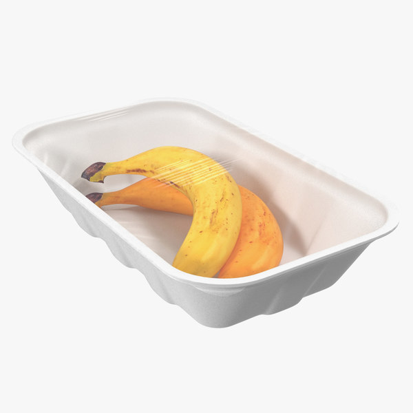 bananas wrapped food tray 3D model