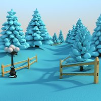 3D outdoor snowy scene snow covered model