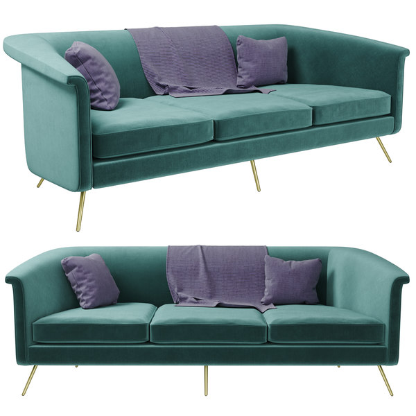 3D model vicente teal velvet sofa