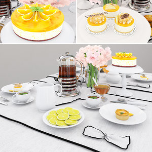 tableware orange cake 3D