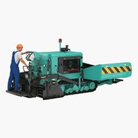 3D model asphalt paving machine operator