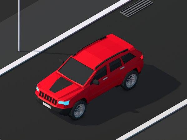 cartoon cherokee jeep car 3D model