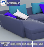 blue leather sofa low-poly 3D model