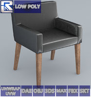 3D black leather chair low-poly model