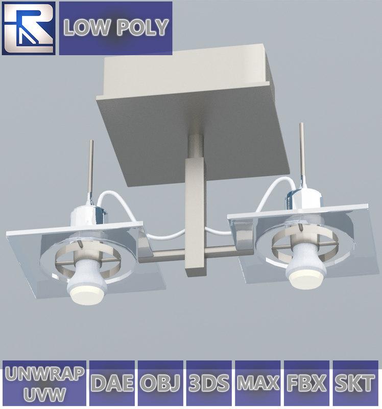 3D double-bolt metal ceiling lamp