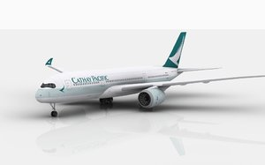 airbus a350 cathay pacific 3D model