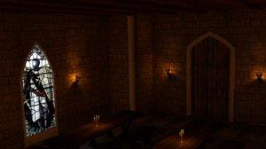3D model medieval interior castle