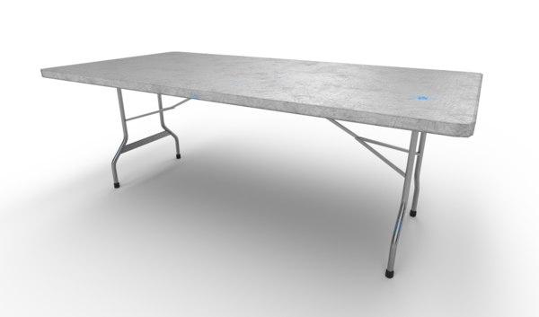 3D folding table set model