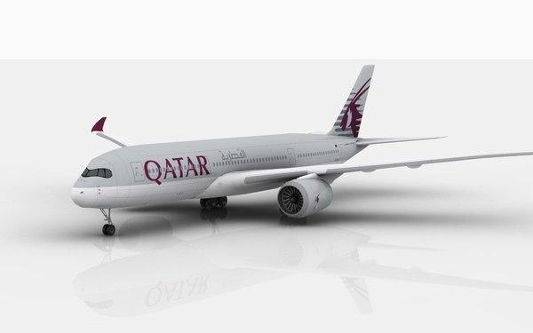 airbus a350 qatar 3D model