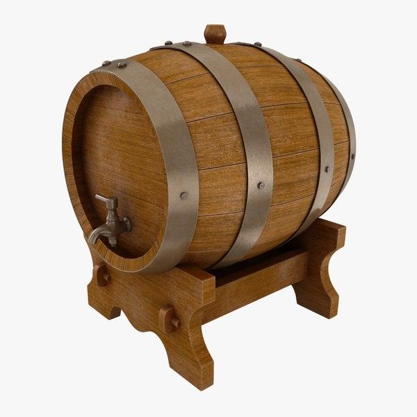 realistic oak wine barrel 3D model