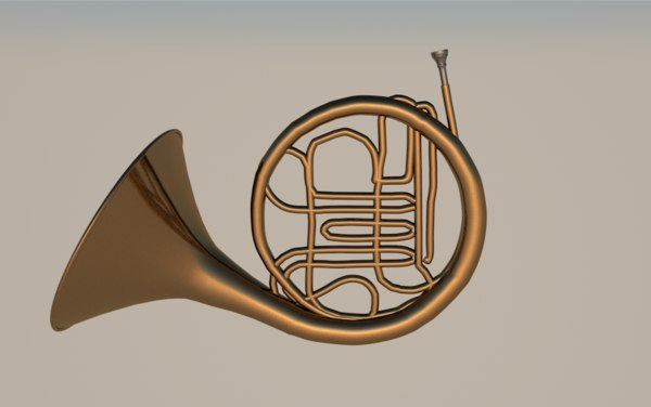 french horn instrument music 3D model