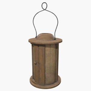 wooden lantern metallic 3D