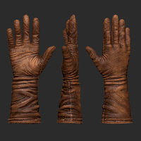 3D old brown leather gloves model