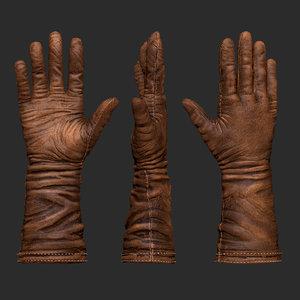 3D old brown leather gloves model