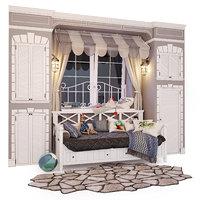 3D bed sofa ocean