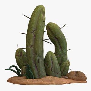 cartoon cactus v2 3D