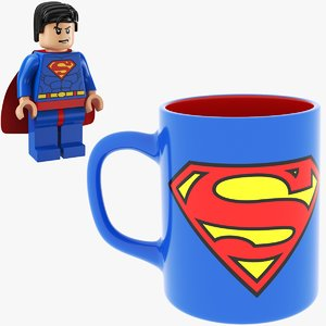 3D model man mug super lego