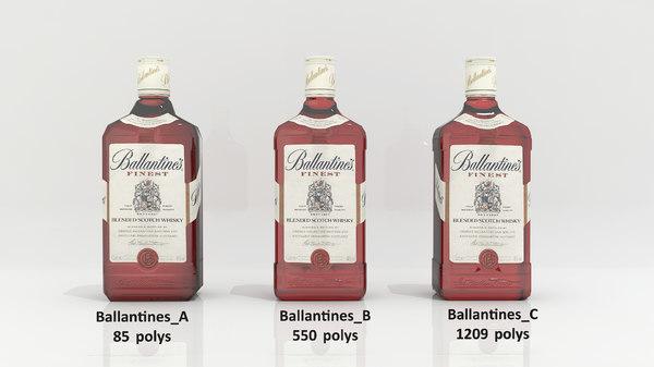 3D ballantines alcohol bottle