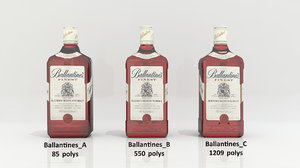 3D ballantines alcohol bottle