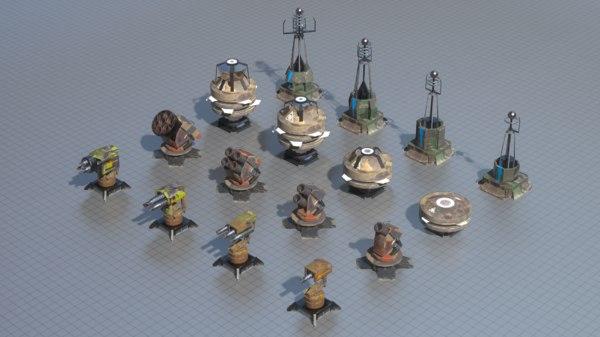 turrets mobile pbr 3D model