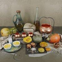 Decor set with pumpkins