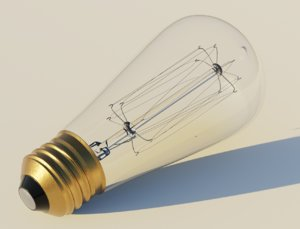 3D model retro edison light bulb