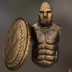 3D set armor greek warrior