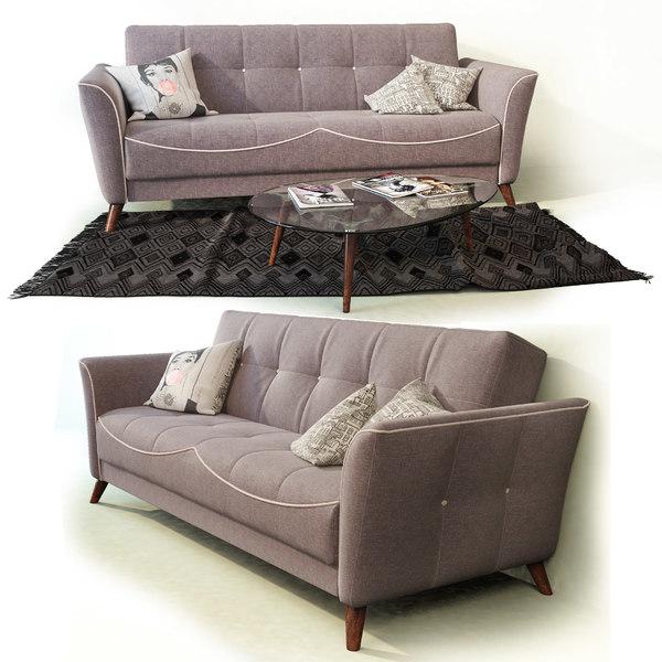 3D model sofa bed tiffany hoff