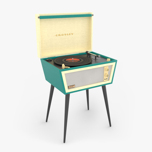 3D crosley dansette turntable