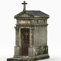 3D weathered old cracked mausoleum