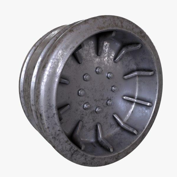 steel wheel tanks 3D model