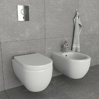toilet bidet villeroy 3D model