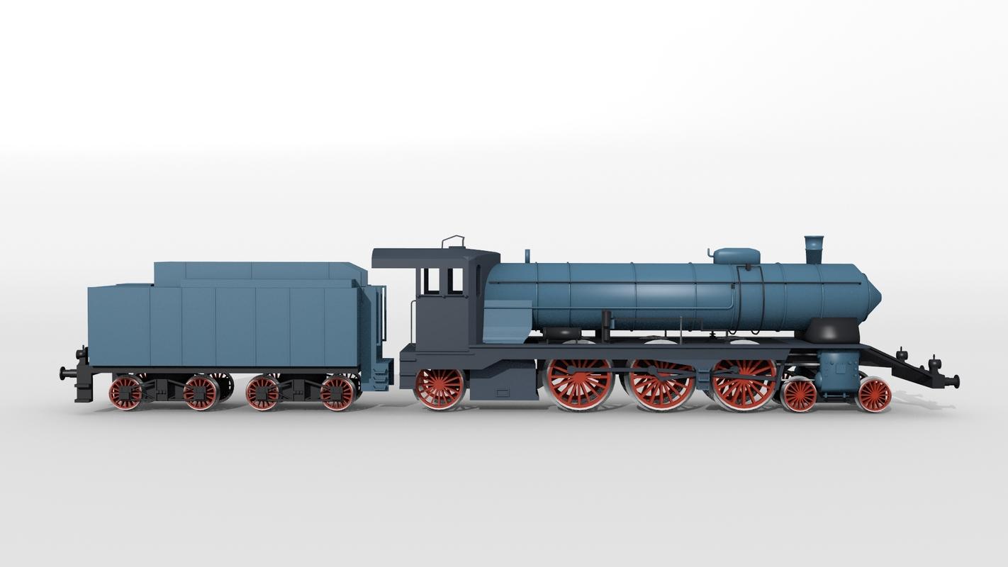 3D bavarian steam locomotive model