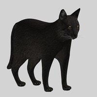 3D black cat modeled model