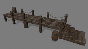 rope wood barrel 3D model