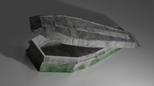 old rock coffin - 3D